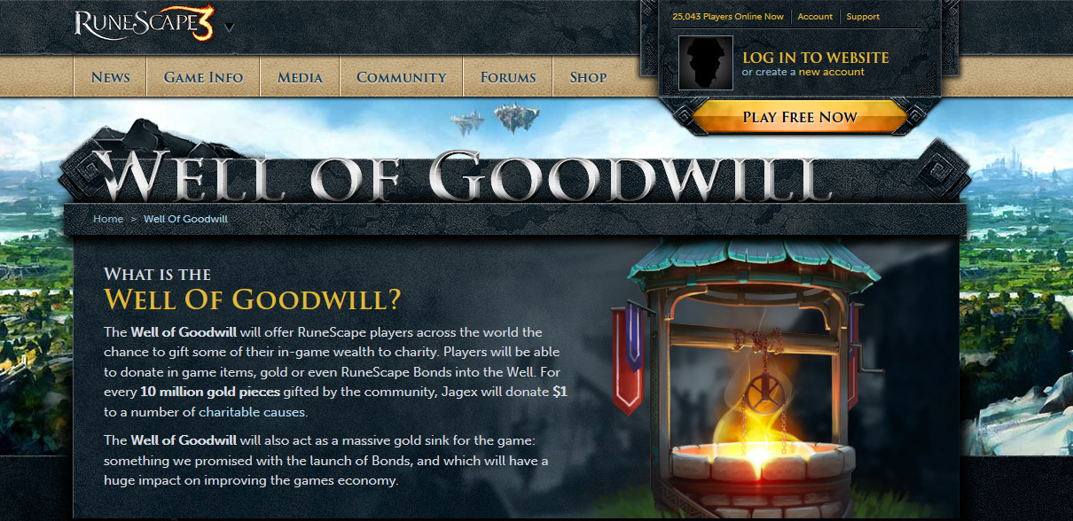 Virtual giving for real-world change says Jagex