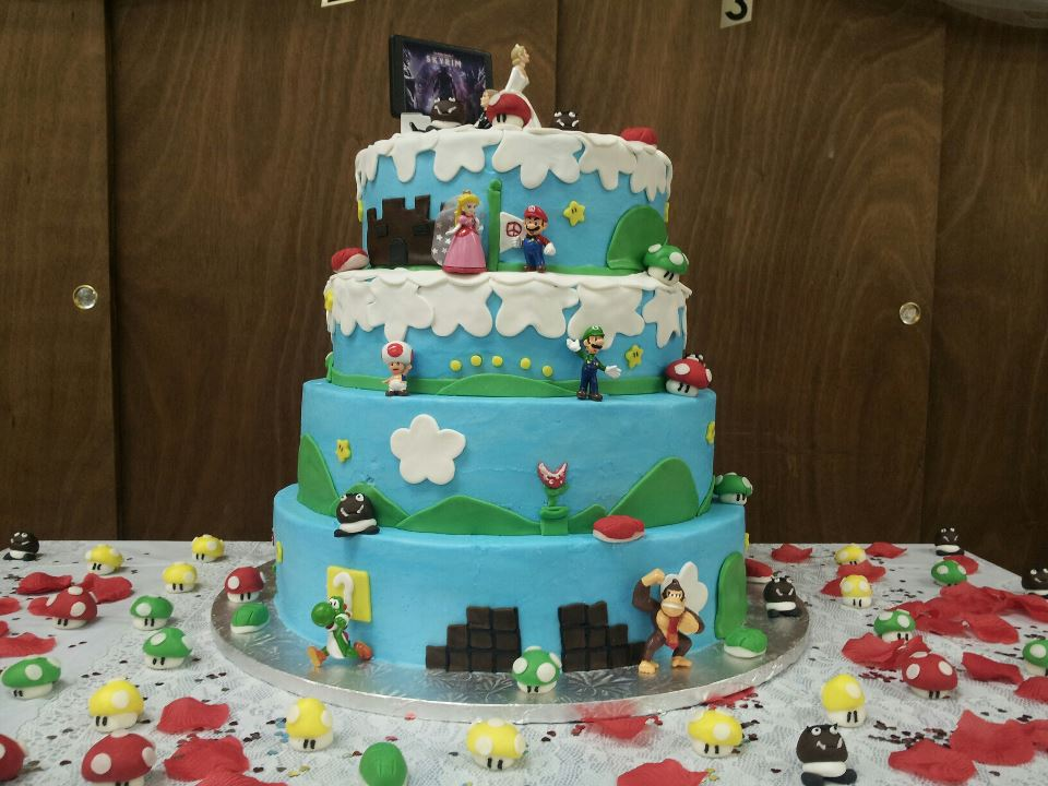 mario themed wedding cake