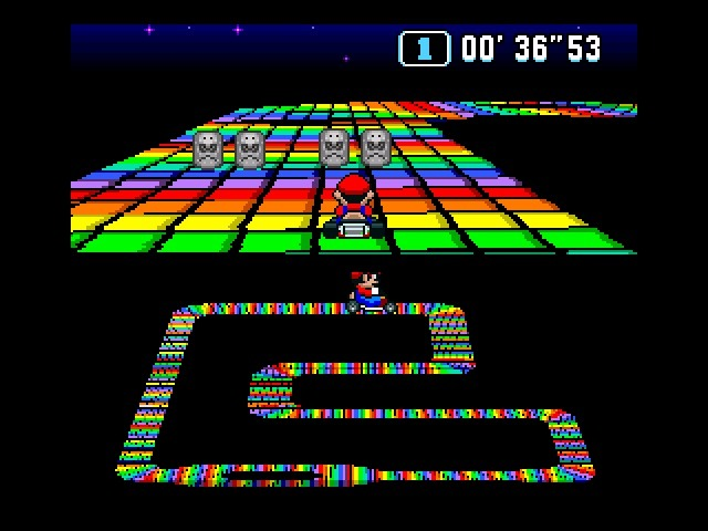 Super Mario Kart Rainbow Road Super Nintendo 1992