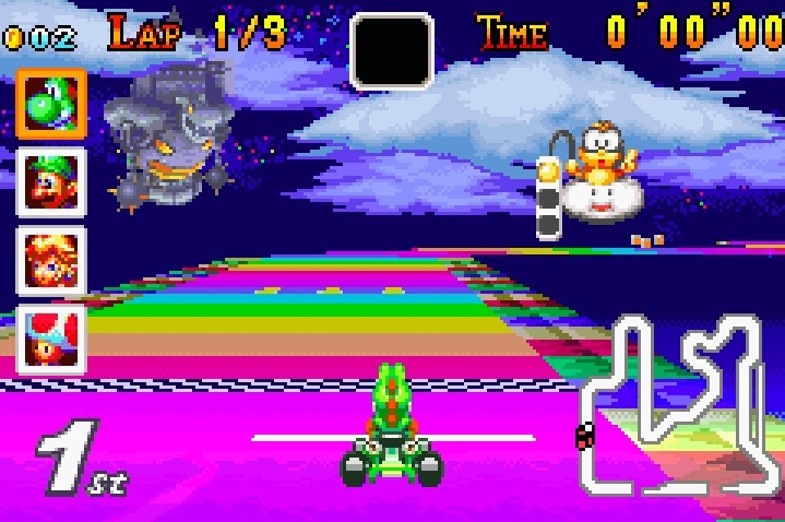 Mario Kart Super Circuit Rainbow Road GBA 2001